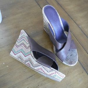 Pika Leather Wedge Sandals 6 Brown Weave